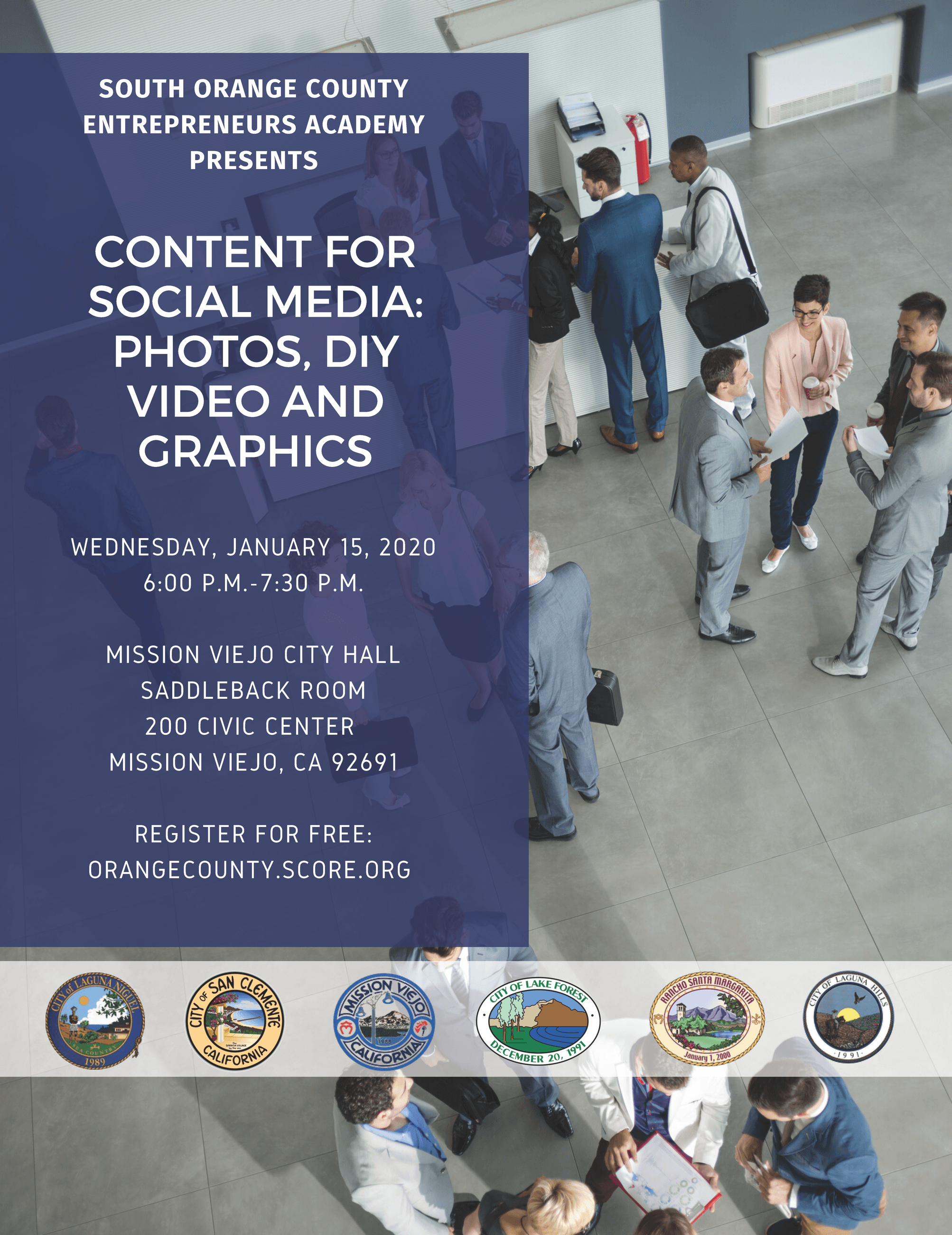 Flyer for Seminar on Creating Social Media Content
