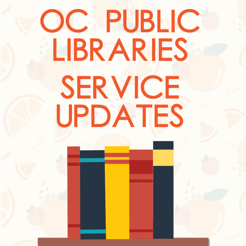 "Flyer saying ""OC Library Updates"" with image of books"