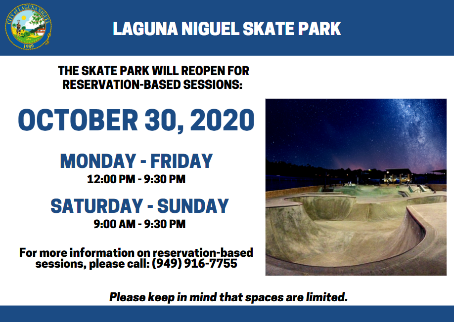 Skatepark Updated Hours for Reopening on 10/30