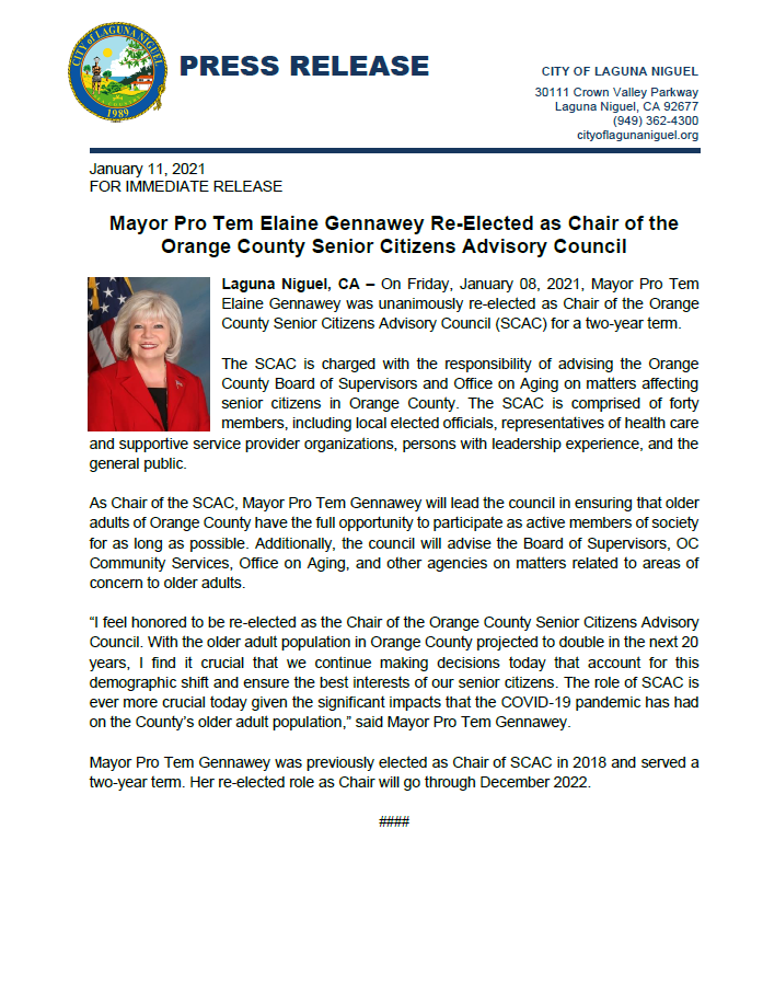 Mayor Pro Tem Gennawey Re-elected Chair of SCAC